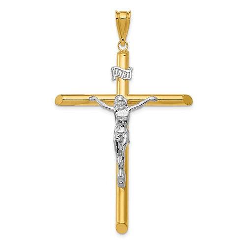 14k Two-Tone Polished Crucifix