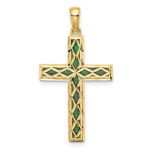 14K Green Enamel Reversible Cross