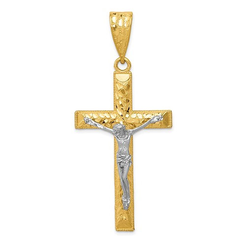14k Two-Tone Diamond-Cut Crucifix