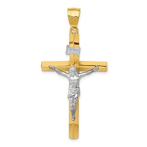 14k Two-Tone INRI Hollow Crucifix