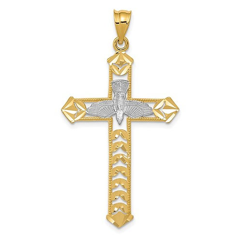 14K With Rhodium Polished Diamond-Cut Dove Cross