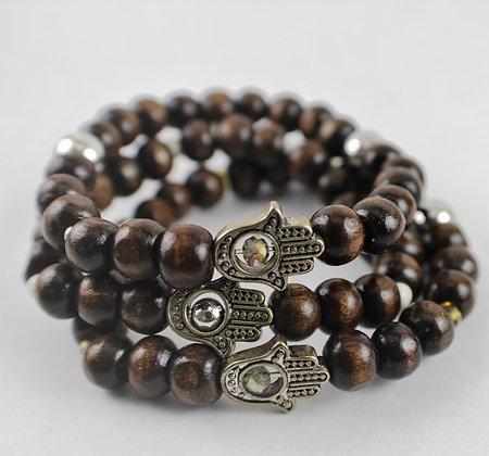 Wooden Hamsa Hand Bracelet