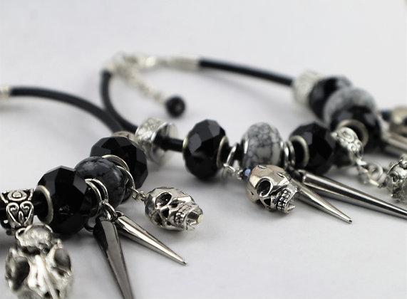 Silver Bird Skull Charm Bracelet