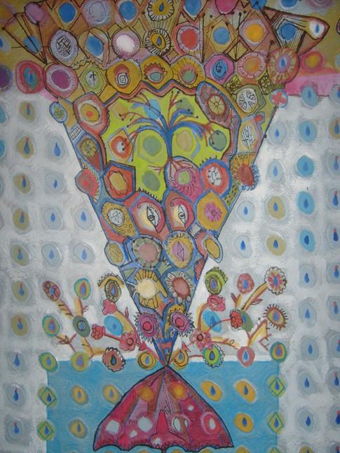 Le parapluie.Mixte sur papier 50x70.JPG