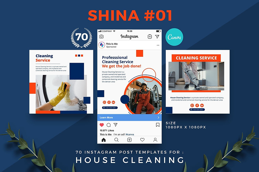 Shina 01 | 70 Canva Template Instagram Post for House Cleaning