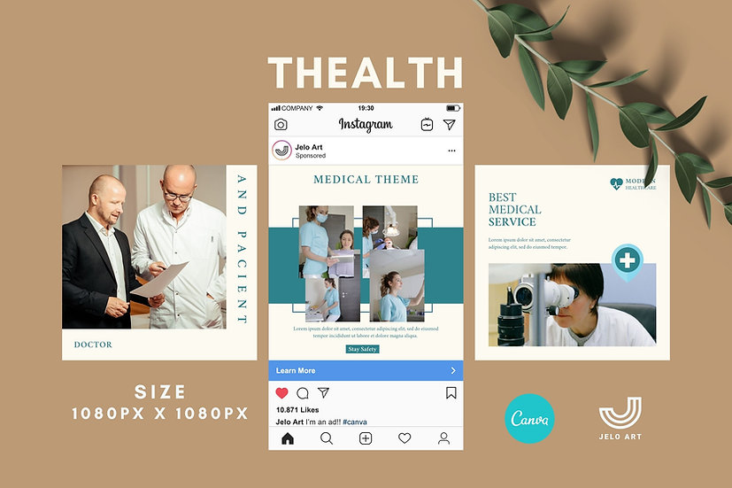 Thealth - 210 Canva Templates Instagram For Health Medical