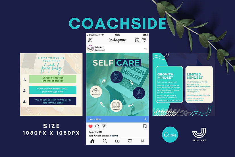 Coachside - 210 Canva Templates Instagram For Coach - content creator & mentor