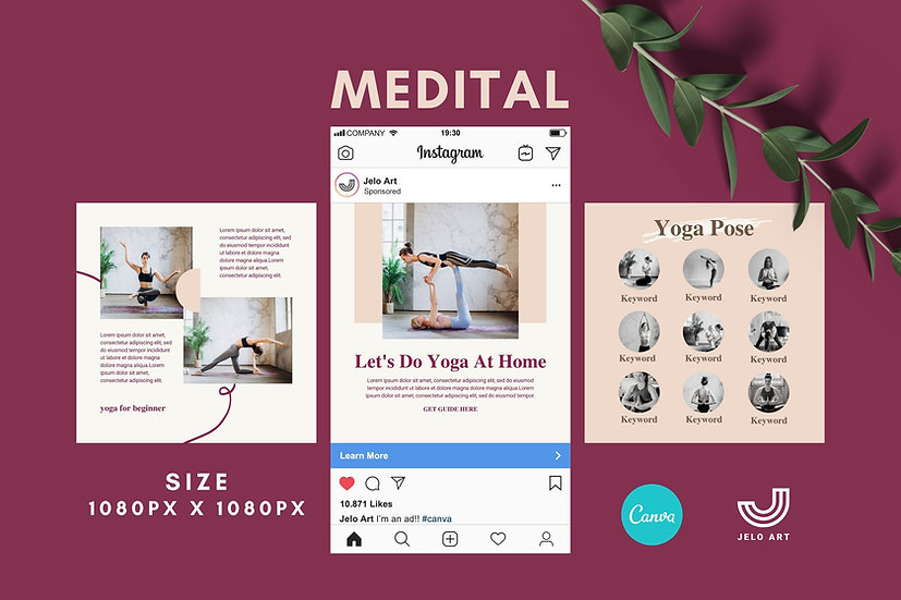 Medital - 210 Canva Templates Instagram For Yoga - Meditation