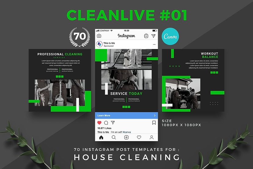 Cleanlive 01 | 70 Canva Template Instagram Post for House Cleaning