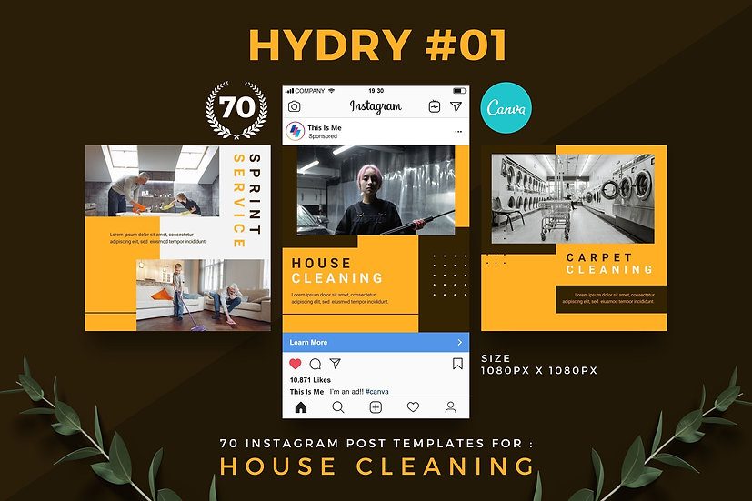 Hydry 01 | 70 Canva Template Instagram Post for House Cleaning