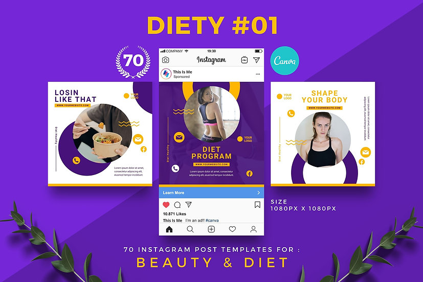 Diety 01   70 Canva Template Instagram Post for Beauty and Diet
