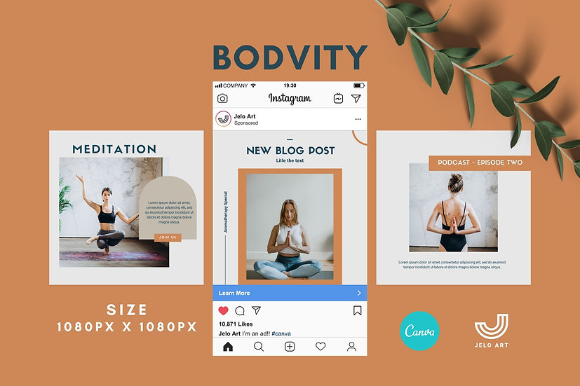Bodvity - 210 Canva Templates Instagram For Yoga - Meditation
