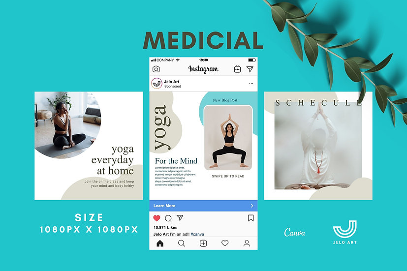 Medicial - 210 Canva Templates Instagram For Yoga - Meditation