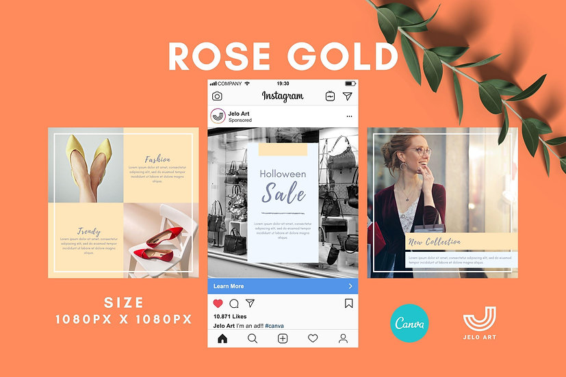 Rose Gold -  210 Canva Templates Instagram For Fashion