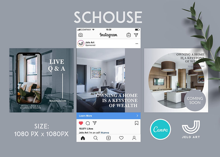 Schouse - 210 Canva Templates Instagram For Real Estate