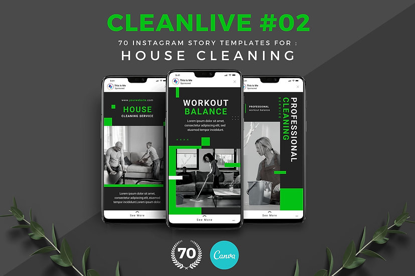 Cleanlive 02   70 Canva Template Instagram Story for House Cleaning