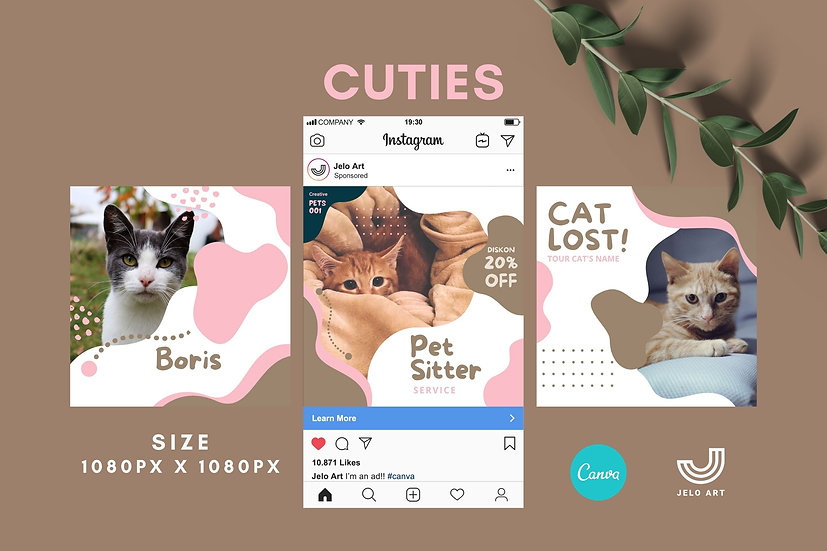 Cuties - 210 Canva Templates Instagram For Pets