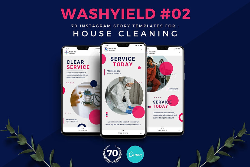 Washyield 02 | 70 Canva Template Instagram Story for House Cleaning