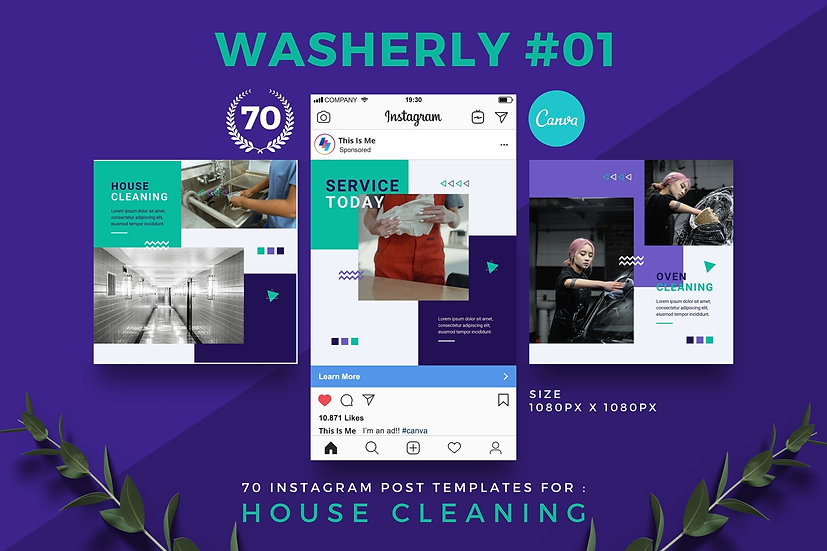 Washerly 01 | 70 Canva Template Instagram Post for House Cleaning