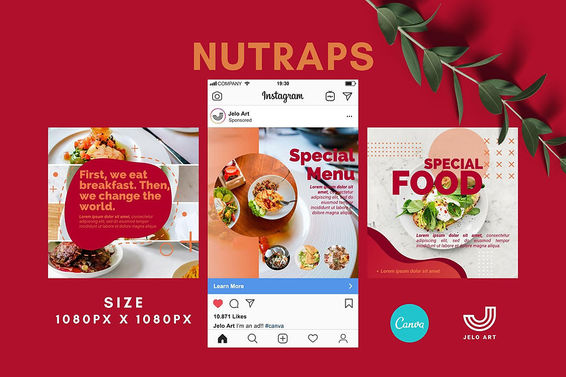 Nutraps - 210 Canva Templates Instagram For Food