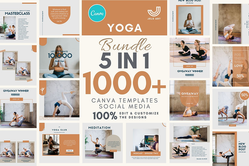 1000+ Canva Template Instagram Bundle For Yoga - Meditation