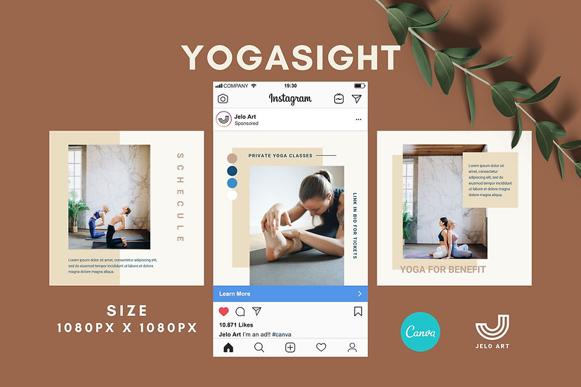 Yogasight - 210 Canva Templates Instagram For Yoga - Meditation
