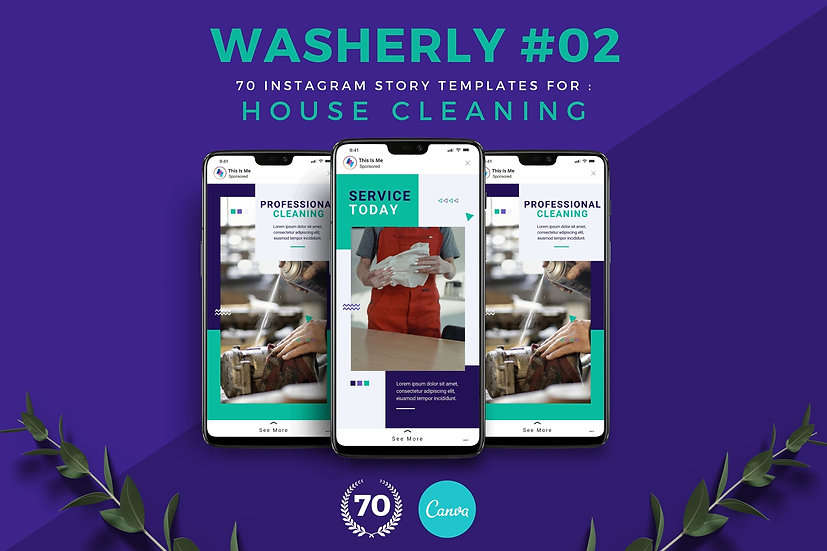 Washerly 02 | 70 Canva Template Instagram Story for House Cleaning