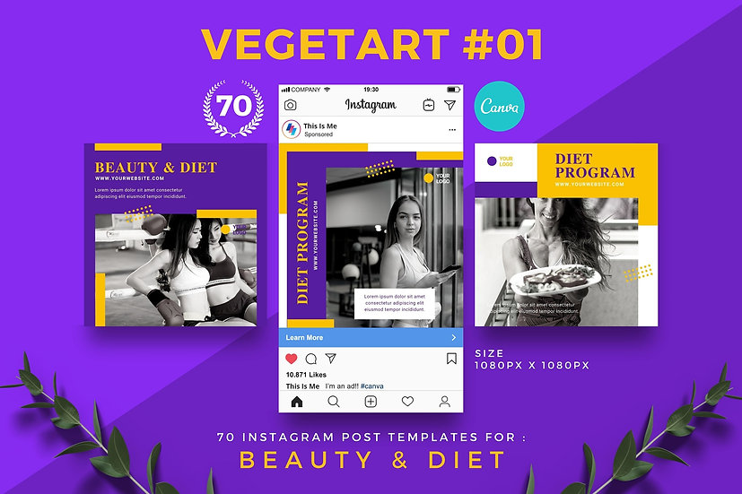 Vegetart 01 | 70 Canva Template Instagram Post for Beauty and Diet