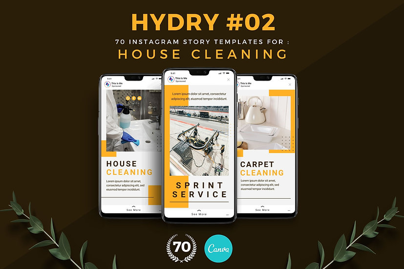 Hydry 02 | 70 Canva Template Instagram Story for House Cleaning