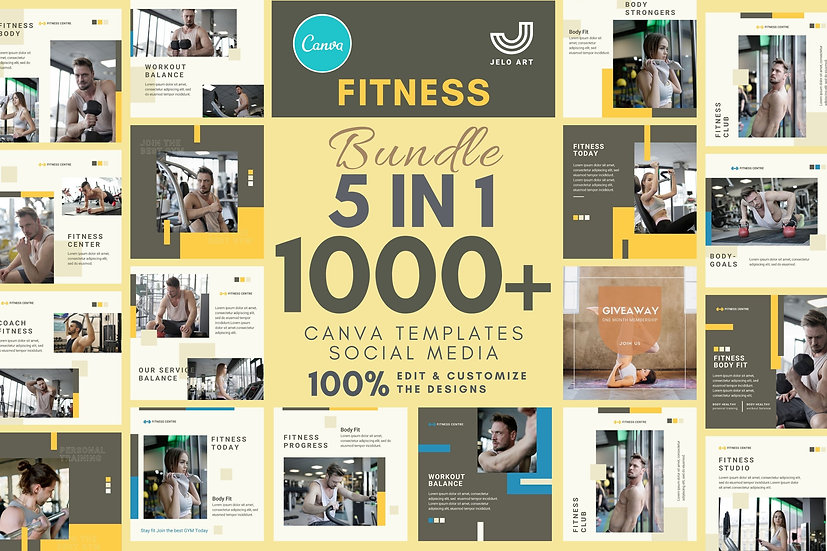 1000+ Canva Template Instagram Bundle For Fitness - Gym