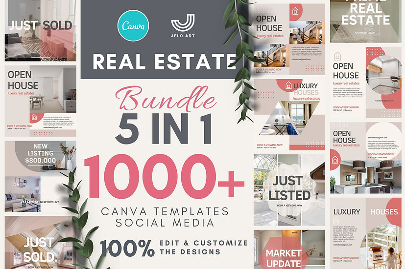 1000+ Canva Template Instagram Bundle For Real Estate