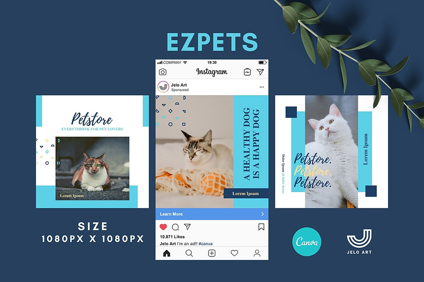 Ezpets - 210 Canva Templates Instagram For Pets