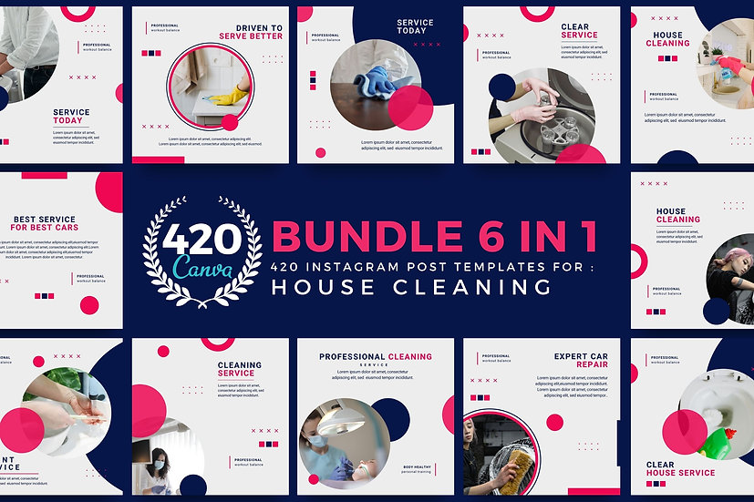 The Ultimate Bundle 6 in 1 Canva Template Instagram Post for House Cleaning