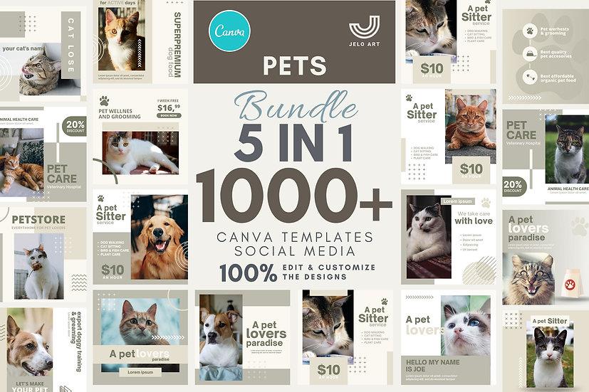 1000+ Canva Template Instagram Bundle For Pets