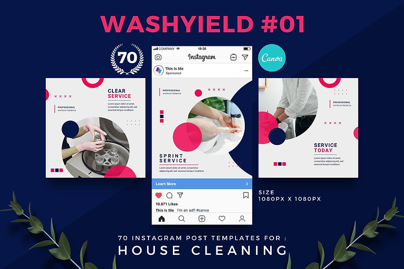 Washyield 01   70 Canva Template Instagram Post for House Cleaning