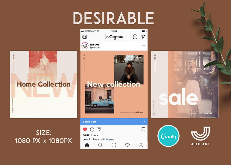 Desirable - 210 Canva Templates Instagram For Fashion