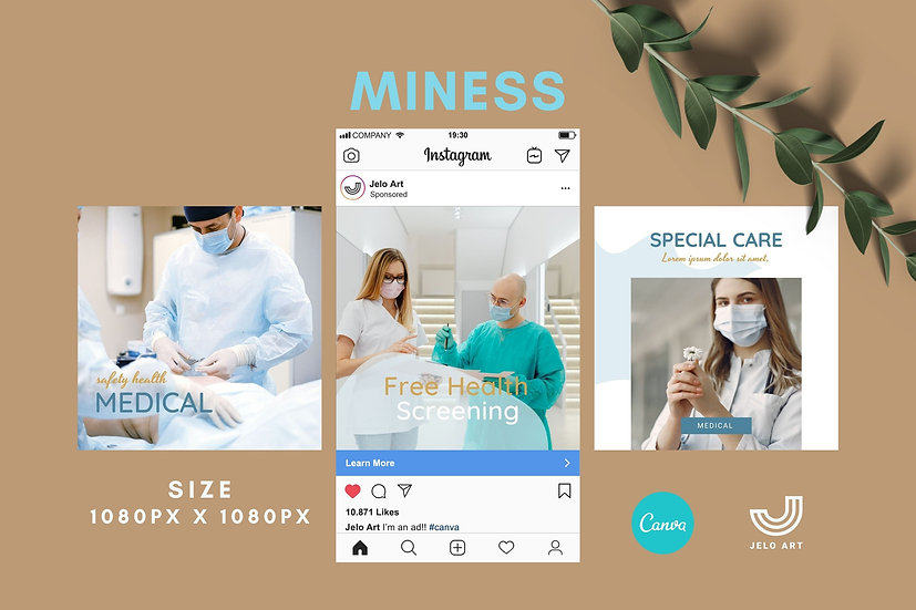 Miness - 210 Canva Templates Instagram For Health Medical