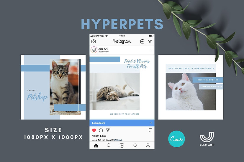 Hyperpets - 210 Canva Templates Instagram For Pets
