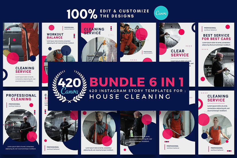 The Ultimate Bundle 6 in 1 Canva Template Instagram Story for House Cleaning