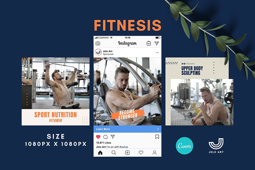 Fitnesis - 210 Canva Templates Instagram For Fitness - Gym