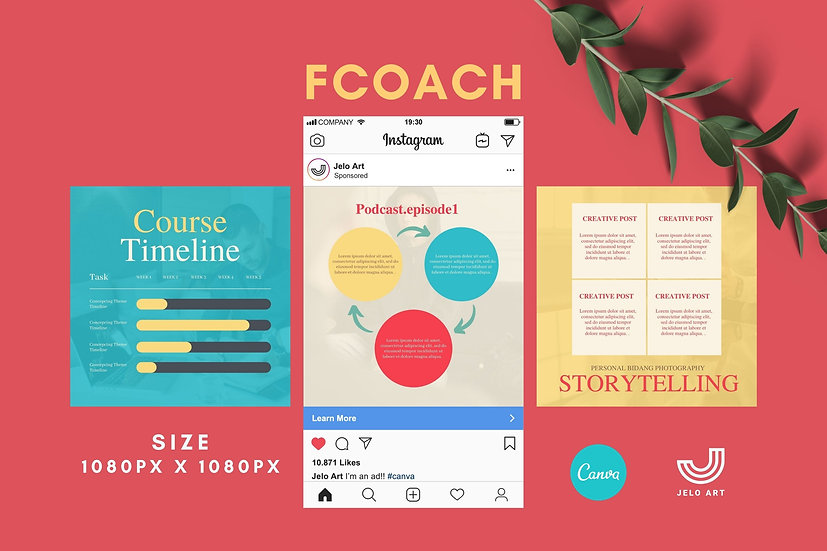 Fcoach - 210 Canva Templates Instagram For Coach - content creator & mentor