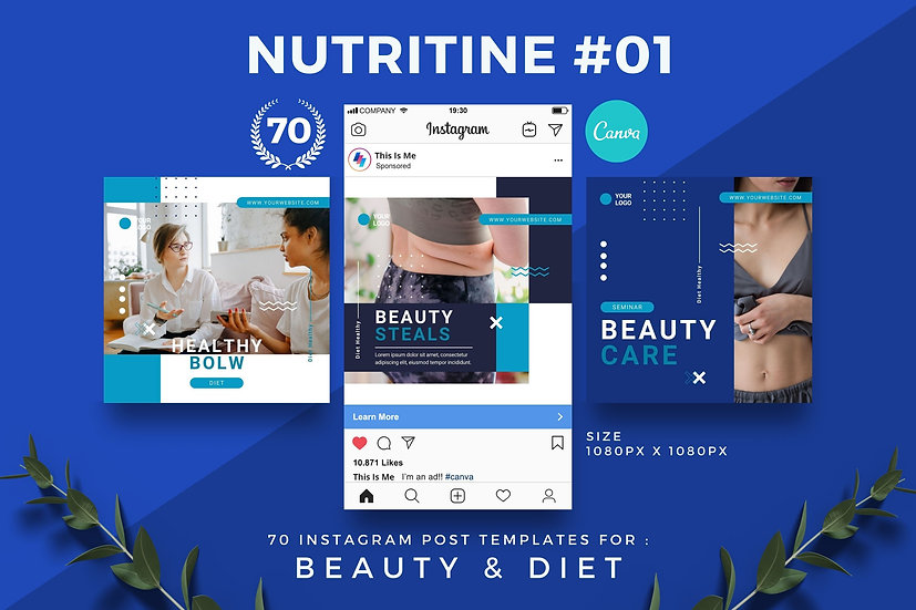 Nutritine 01   70 Canva Template Instagram Post for Beauty and Diet