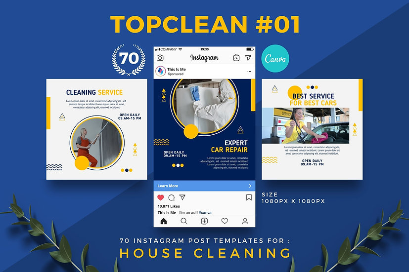 Topclean 01 | 70 Canva Template Instagram Post for House Cleaning