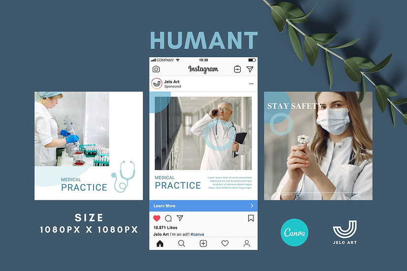 Humant - 210 Canva Templates Instagram For Health Medical