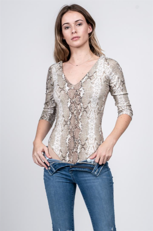SNAKE PRINT 3/4 SLEEVE BODY SUIT