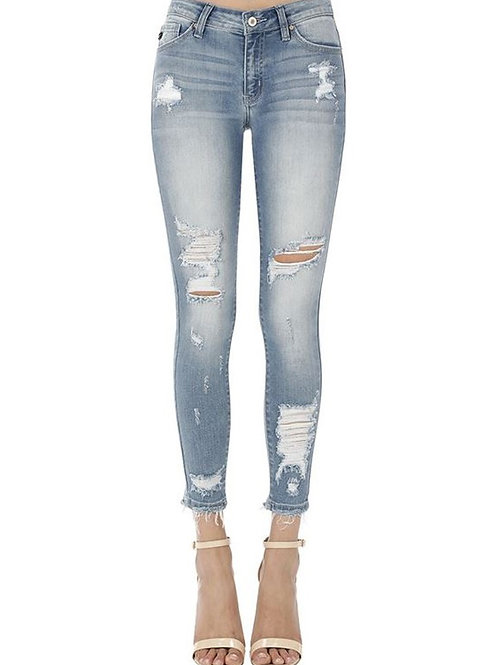 MID RISE ANKLE SKINNY DISTRESSED