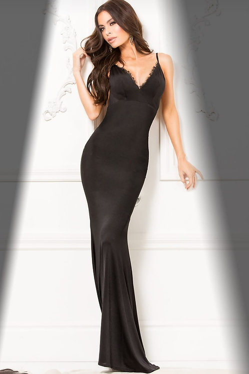 FORM FITTING EVENING GOWN W/ LACE TRIM