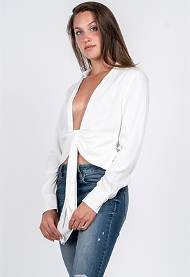 LOW V-NECK COLLARED BLOUSE