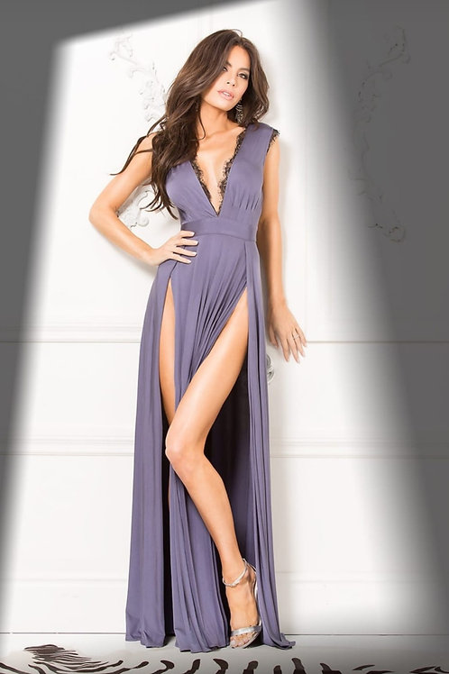 LEGEND EXCLUSIVE EVENING GOWN W/ LACE TRIM