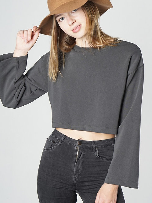 THE CAITLIN TOP - CHARCOAL